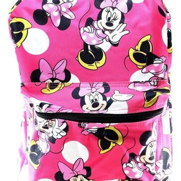 "Disney Minnie Mouse Allover Print 16"" Girls Large School Backpack-Pink"