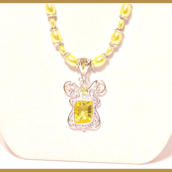 Sunshine Yellow Pearl Necklace with Decorative Glass Pendant - Spring, Summer, Freesia, Prom