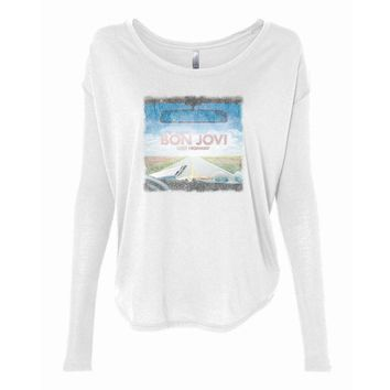 Vinyl Icons Bon Jovi Lost Highway VIBJ-022BK Women's 2x1 Flowy Long Sleeve Tee