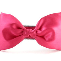 Fuchsia Dog Bow Tie Collar - Hot Pink Bow Tie Dog Collar - Wedding Attire for Dogs - Pink satin dog bow tie - Pink Dog Bow Tie