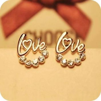 Love Crystal Studs