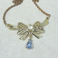 Vintage Bow Pendant Goldtone Blue and Clear Rhinestones 55mm x 40mm