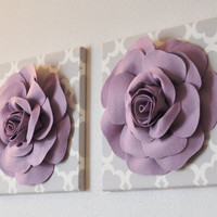 "TWO Wall Flowers -Lilac Rose on Gray and White Tarika Print 12 x12"" Canvas Wall Art- Baby Nursery Wall Decor-"