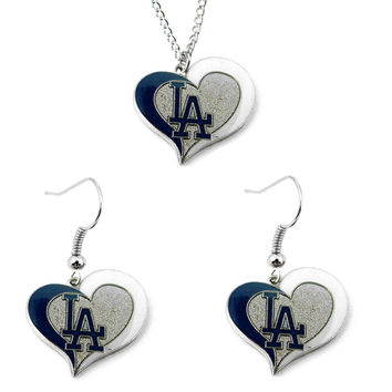Los Angeles Dodgers Women's Swirl Heart Necklace & Earrings Set