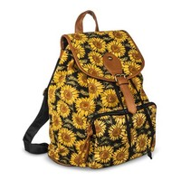 Women's Sunflower Pring Backpack Handbag - Yellow/Black