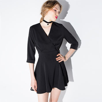 Black Wrap V-Neck Roll Up Sleeves Buckled Waist Swing Mini Dress
