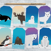 Arctic Animals Gift Tags, Digital Arctic Hang Tags Collage Sheet, Winter Gift Tags, Printable Animal Gift Tags, DIY Holiday Gift Wrapping