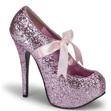 Bordello Baby Pink Glitter Stiletto Platforms