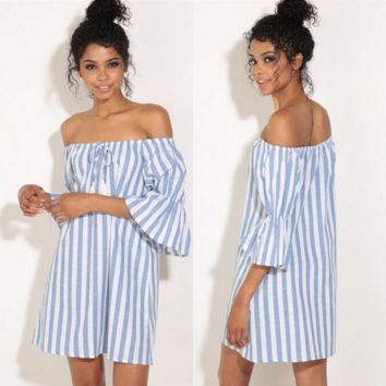 Fashion Off Shoulder Middle Sleeve Pagoda Sleeve Multicolor Stripe Mini Dress