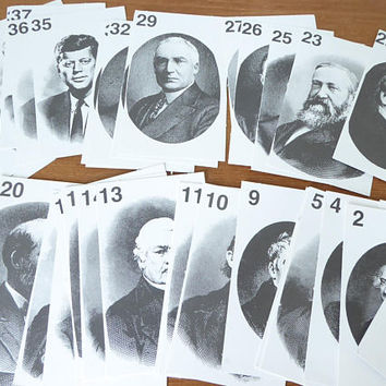 Presidents of the US quiz cards from George Washington to Bill Clinton