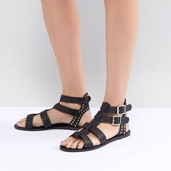 New Look Leather Look Gladiator Flat Sandal at asos.com