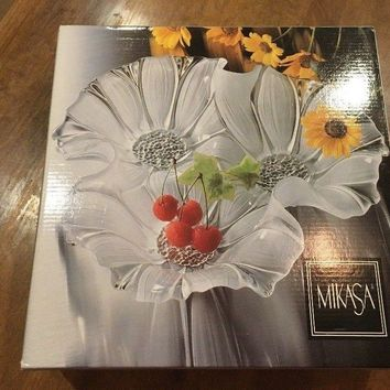 Vintage Mikasa Crystal Sunflower Frost 3 Part Divided Relish Bowl - Germany