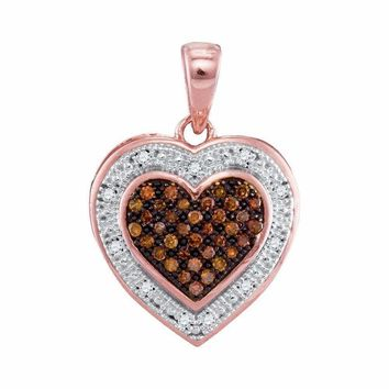 10k Rose Gold Women's Red Diamond Heart Halo Pendant - FREE Shipping (US/CA)