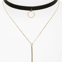 Loren Olivia Faux Leather Choker Double Strand Bar Necklace | Nordstrom