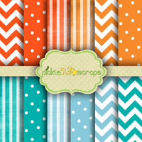 Patterns Vol1 - 12 Digital Scrapbook Papers - 12x12inch - Printable Backgrounds - Stripes, Spots Chevron Backgrounds - INSTANT DOWNLOAD