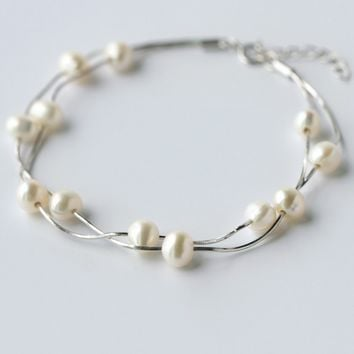 Simple pearl 925 sterling silver bracelet, a perfect gift