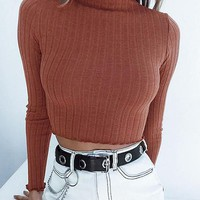 Crop Basic Ribbed Turtleneck Sweater Women Pullover Sweaters Sexy Flounce Sleeve Knitted Sweater Jumper