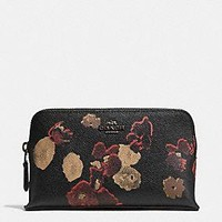 SMALL COSMETIC CASE IN FLORAL PRINT LEATHER