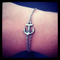 silver chain anchor bracelet