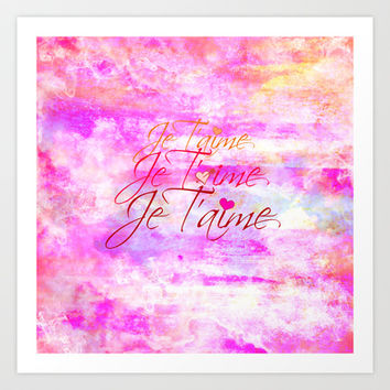 JE T'AIME French Typography Font I Love You Romantic Fine Art Pastel Pink Colorful Abstract Painting Art Print by EbiEmporium