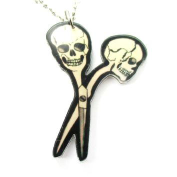 Scissors with Skull Shaped Handle Pendant Necklace in Acrylic | DOTOLY