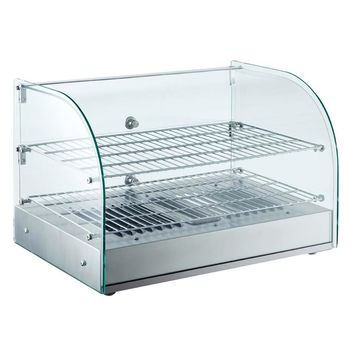 """Commercial Countertop Heated Display Case with Curved Glass 22"""""""