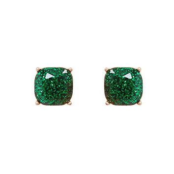 Humble Chic Women's Kate Square Studs - Emerald Glitter - Cushion Cut Jewel Statement Earrings 14mm