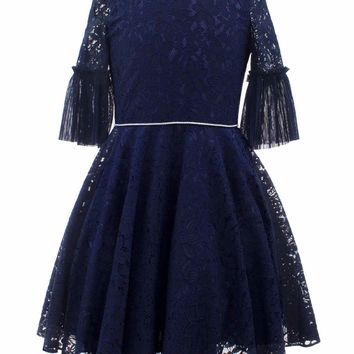 DAVID CHARLES Girls' Navy Embroidered Dress