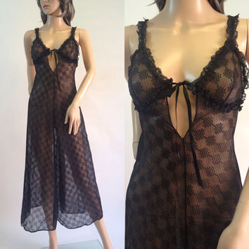 1960s Black Sheer Glydons Lingerie NightGown, Size Small, XS