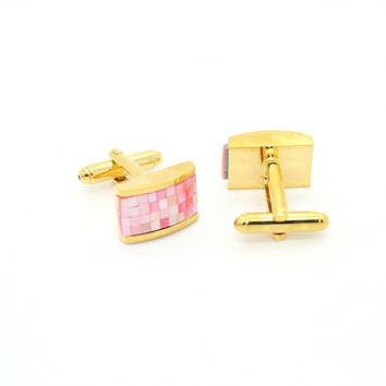 Goldtone Pink Rectangle Shell Cuff Links With Jewelry Box