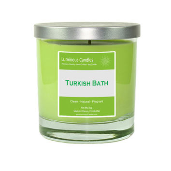 Soy Candle - Turkish Bath Scented - 8 oz Rock Glass Jar Candle with Brushed Metal Lid