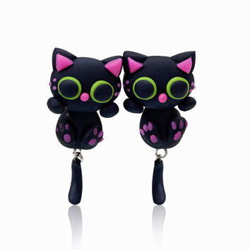 New Design Popular Polymer Clay Lovely Cartoon Stud Earrings Animal Handmade Black Cute Cat Earrings Women Jewelry