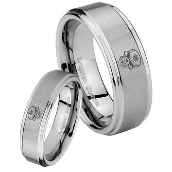 His and Hers Step Edge Skull Marijuana Leaf Tungsten Silver Wedding Rings Set