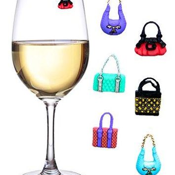 Girls Night Out Wine Charms or Glass Markers for Stemless Glasses Martinis Champagne Flutes and More  Set of 6 Colorful Purses  Hostess Housewarming Bridesmaid Gifts