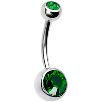Emerald Green Double Gem Belly Ring MADE WITH SWARVOSKI ELEMENTS | Body Candy Body Jewelry