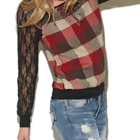 Buffalo Check With Lace Sleeves Sweatshirt | Wet Seal