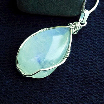 Rainbow flash Moonstone pendant pear shape sterling silver wire wrapped  with a stamped sterling silver plated snake chain necklace