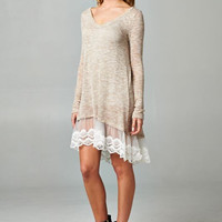 Taupe Lace Trim Tunic/Dress