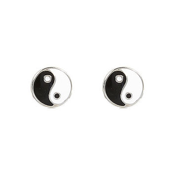 River Island Womens Black yin yang stud earrings