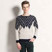 Color Block Geo-Pattern Ribbed Trim Knitted Sweater