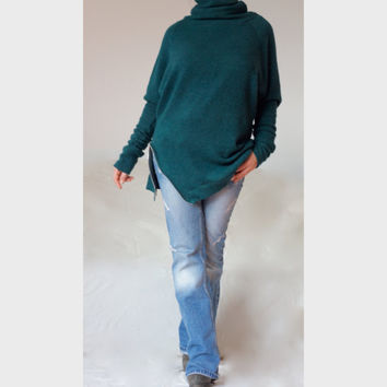 Plus Size Winter Sweater / Turtle Neck Sweater /XXL XXXL Cowl Neck Winter Top / Teal Wool Sweater Wool Blanded Elastane