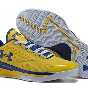 spbest Men's Under Armor Curry 1 Low-Cup Basketball Shoes Yellow Blue 40-46
