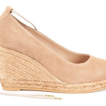 Romani Suede Lace-up Wedge Pumps - Camel