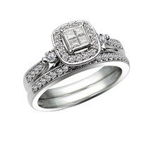 1/2 CT. T.W. Princess-Cut Quad Diamond Vintage-Style Bridal Set in 10K White Gold - View All Rings - Zales