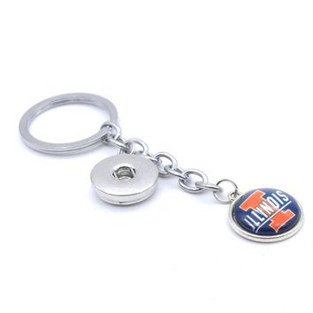 2017 New Football Keychain NCAA Illinois Fighting Illin Charm Key Chain Car Keyring for Women Men Party Birthday Keyrings Gifts