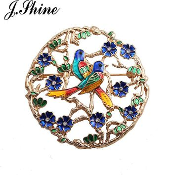 JShine Enamel Colorful Birds Hollow Brooches For Women Gold Color Crystal Flowers Corsages Women Suit Accessories Pins