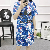 """Adidas"" Fashion Casual Multicolor Leaf Flamingo Print Short Sleeve T-shirt Mini Dress"