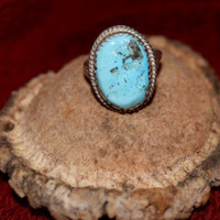 Lovely Turquoise Ring in Sterling Silver, Size 8