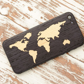Ebony World Map Inlay iPhone 5 Real Wood Skin (Front & Back Cover) Made in the USA - FREE Shipping