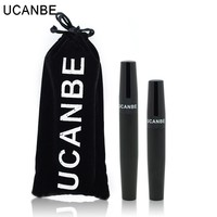 Ucanbe Brand Mascara 2pcs / Set 3D Fiber Lashes Mascara Waterproof Volume Express Black Eyelashes Grower Cosmetics Makeup Set
